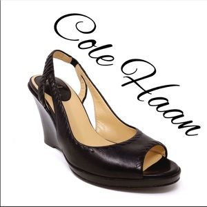 Cole Haan Sandals Black Slingback Wedge Size 8